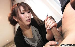 Shy Japanese MILF Yuki Maya pampers small cock with handjob