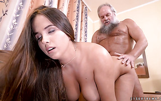 Olivia Nice lets old man enjoy her young and voluptuous body