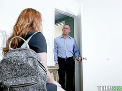 Redhead stepdaughter Lucy Foxx is railed by horny stepdad
