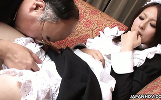 Housemaid Himeki Kaede gets her Jap pussy fucked by old man