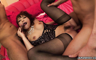Babe Yui Ayana gets her furry Japanese pussy fucked in 3some