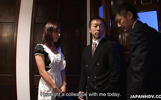 Busty Asian wife Himeki Kaede is fucked by hubby and his employee