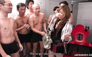 Bukkake and gangbang for hot Japanese college girl Yurina