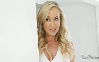 Cougar Brandi Love seduces stepson with her big mature boobs