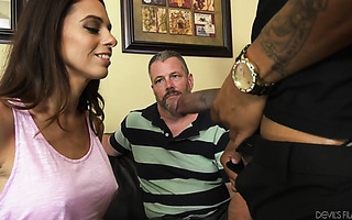Mature wife Eva Long is encouraged to take BBC by her cuck
