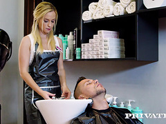 Sexy hairdresser Vinna Reed makes love with client in salon
