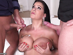 Busty BBW Anissa Jolie is DPed in MMF threeway