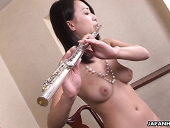 Busty flute player Yayoi Yanagida squirts heavily