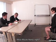 Rara Mizuki passes job interview for office slut position