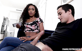 Bitchy ebony babe Demi Sutra gives handjob and bj to white stepbro
