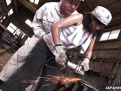 Sweaty Jap Aoi Nohara in bizarre gangbang on factory