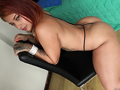 Redhead Latina with big booty Ms Monroy gets porked