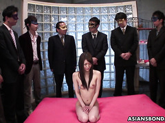 Hairy JAV Rina Serizawa in gangbang and bukkake with ten guys
