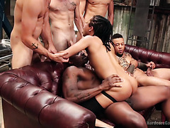Kira Noir gets her black holes gang banged and takes bukkake