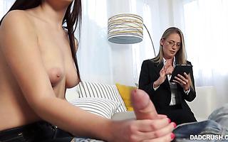 Scarlett Mae gives stepdad handjob and blowjob - POV