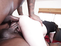 Pale thot Keira Croft is DPed and gang fucked by black dudes