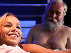 Young blond Rebecca hooks up with bearded old man at the bar