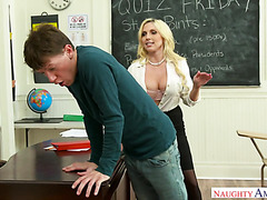 Strict and busty teacher Christie Stevens hooks up with college stud
