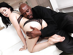 Yhivi, white angel, rides big black cock with her pale bubble ass