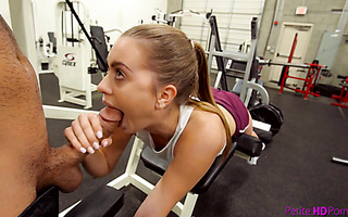 Fit Jill Cassidy endures big dick workout in GYM