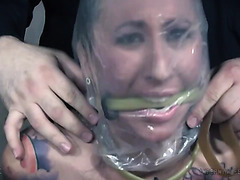 Lily Lane is strangled with plastic bag and toyed to squirting