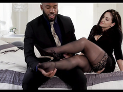 Lea Lexis is passionately fucked by black gentleman in all holes