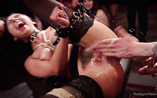 Public squirting by hairy slave Melissa Moore