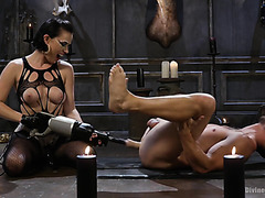 Mistress Olive Glass destroys slave's ass with fucking machine