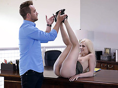 Flirty secretary Elsa Jean drains boss's balls in office