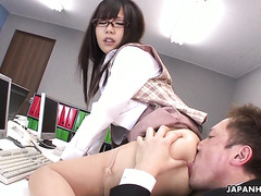 Office sex with busty and hairy Japanese secretary Mikuru Mio