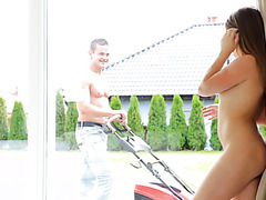 Alessandra Jane seduces lawn boy with her Russian charm