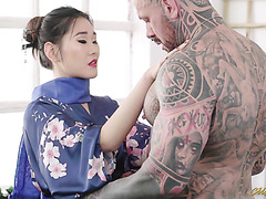 Young geisha Katana makes love with muscular and tattooed alpha male