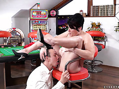 Rich BBW grandma Dolly Bee is licked and fucked by college boy