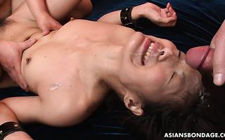 Bukkake hoe Aoi Miyama is hate fucked in her leaking beaver