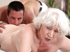 Ancient granny Norma takes it up her grey haired pussy