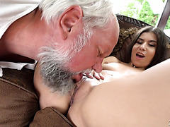 Neat Turkish Anya Krey deepthroats and fucks old man's wiener