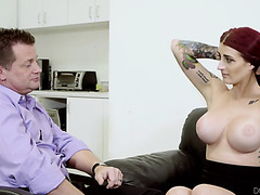 Tana Lea seduces coworker with he huge silicone boobs