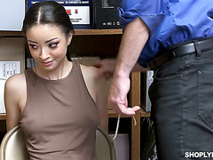 Scarlett Bloom, adorable busty redbone, is fucked by mall cop to get free