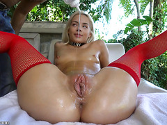 Elsa Jean enjoys greasy oily sex with a long fat dick
