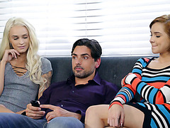 Naughty girls Emma Hix and Cadey Mercury skip on netflix to ffm chill