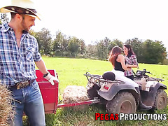 Farmer boy fucks two country girls on tractor in open field