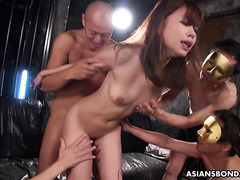 Public Asian slut Aihara Miho takes creampie and bukkake on tits