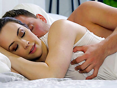 Curvy Chanel Preston wakes up in bf's arms and makes love