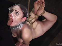 Violet Monroe is violently throated and fucked by master