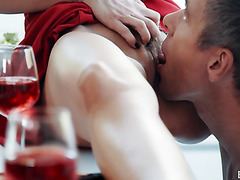 Britney Amber serves him a red wine and her well-aged vagina on dinner