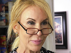 67 yo GILF Erica Lauren is dicked and facialized in the kitchen
