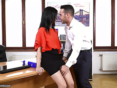 Young secretary Nikki Fox casually fucks her boss