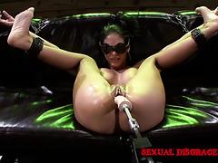 Bondaged Jasmine Caro is manhandled by cock and fucking machine