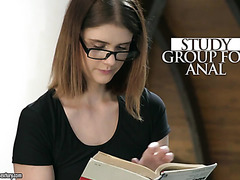 Nerd Lexy Gold is down for anal after a home study with coed