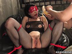 Kana Mimura, chubby Japanese slave, is stuffed with banana and dildos
